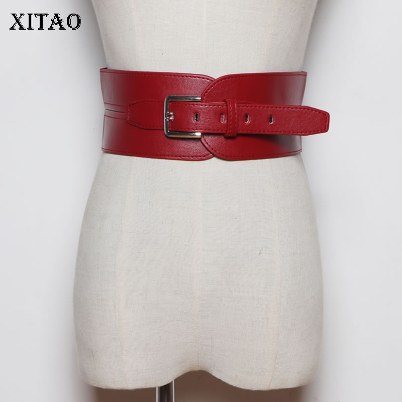 XITAO Pin Buckle Irregular PU Leather Cummerbunds Fashion New 2020 Spring Elegant Style Crimped Waist Seal Women ZLL4838