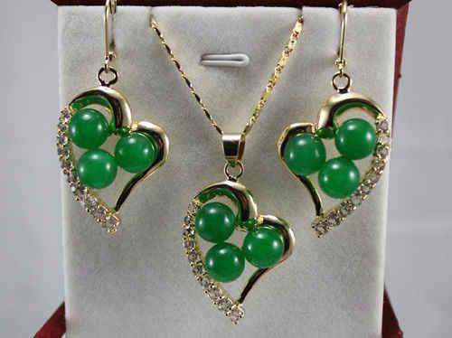 Горячая Распродажа новинка-бирюзовый зеленый камень красный коралл в форме сердца кулон ожерелье серьги набор A23401 Новинка