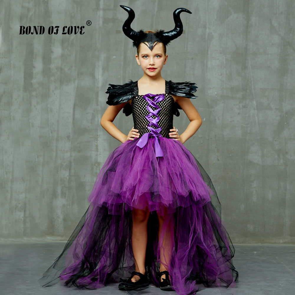 Maleficent Evil Queen Girls Tutu Dress and Horns Halloween Cosplay Witch Costume for Kids Party Dress Children christmas clothes image