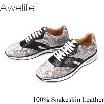 Snakeskin Shoes Men Casual Genuine Leather High Quality Sneaker Sport Fashion Luxury Leisure Snake Leather Men's Leisure Shoes genuine leather top quality men leather shoes autumn lace up men s casual shoes outdoorluxury leisure men sneakers shoes