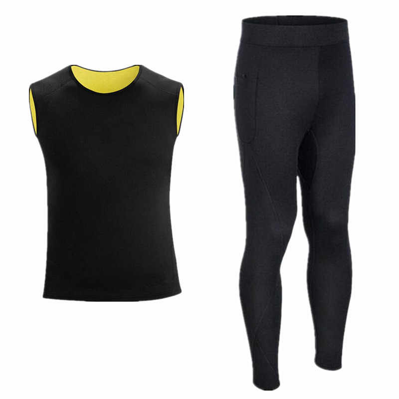 Men Long Johns compression men t-shirt + leggings Neoprene fitness shirts top for fitness man tracksuit thermal underwear shaper