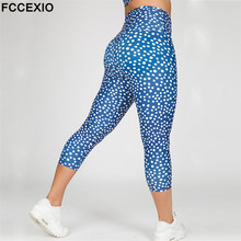 FCCEXIO New Women Push Up Sporting Elastic Slim Blue Dot Print Leggings Sportswear Workout Pants Skinny Ladies Fitness