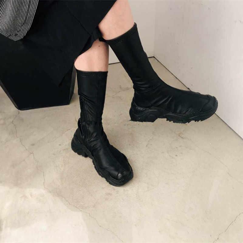 Kadın Siyah Soba Borusu Çizmeler Rahat Kalın Alt Baba Ayakkabı Sneakers Elastik Çorap Üzerinde Kayma Yüksekliği Artan Çizmeler Kadın