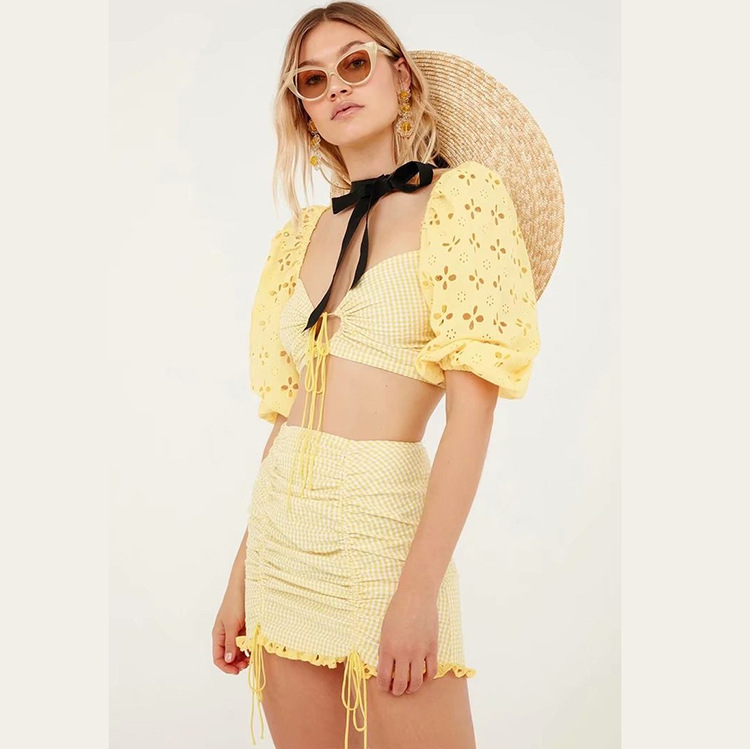 2019 Autumn Sexy WOMEN'S Dress Yellow Pattern Puff Sleeve Lace-up Tube Top Tops Short Skirt Skirt Set