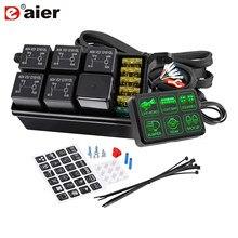 Panel de interruptor de 6 entradas para coche, camión y Jeep, sistema de relé electrónico, caja de Control de circuito, relé de fusibles, caja de arnés de cableado