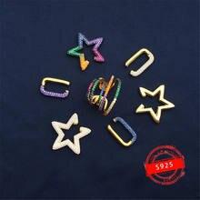S925 de plata esterlina estrella de nueva colores en forma de clipe parágrafo hueso del cuadrado oído y mujeres con diamante de cor