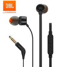 JBL T110 3.5 مللي متر سماعة أذن سلكية ستيريو الموسيقى عميق باس سماعات أذن سماعة أذن رياضية في خط التحكم حر اليدين مع ميكروفون