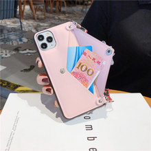 Wallet leather case for iphone 11 Pro XR X XS Max funda iphone 6 6s 8 7 Plus envelope pocket lanyard strap pink women cover