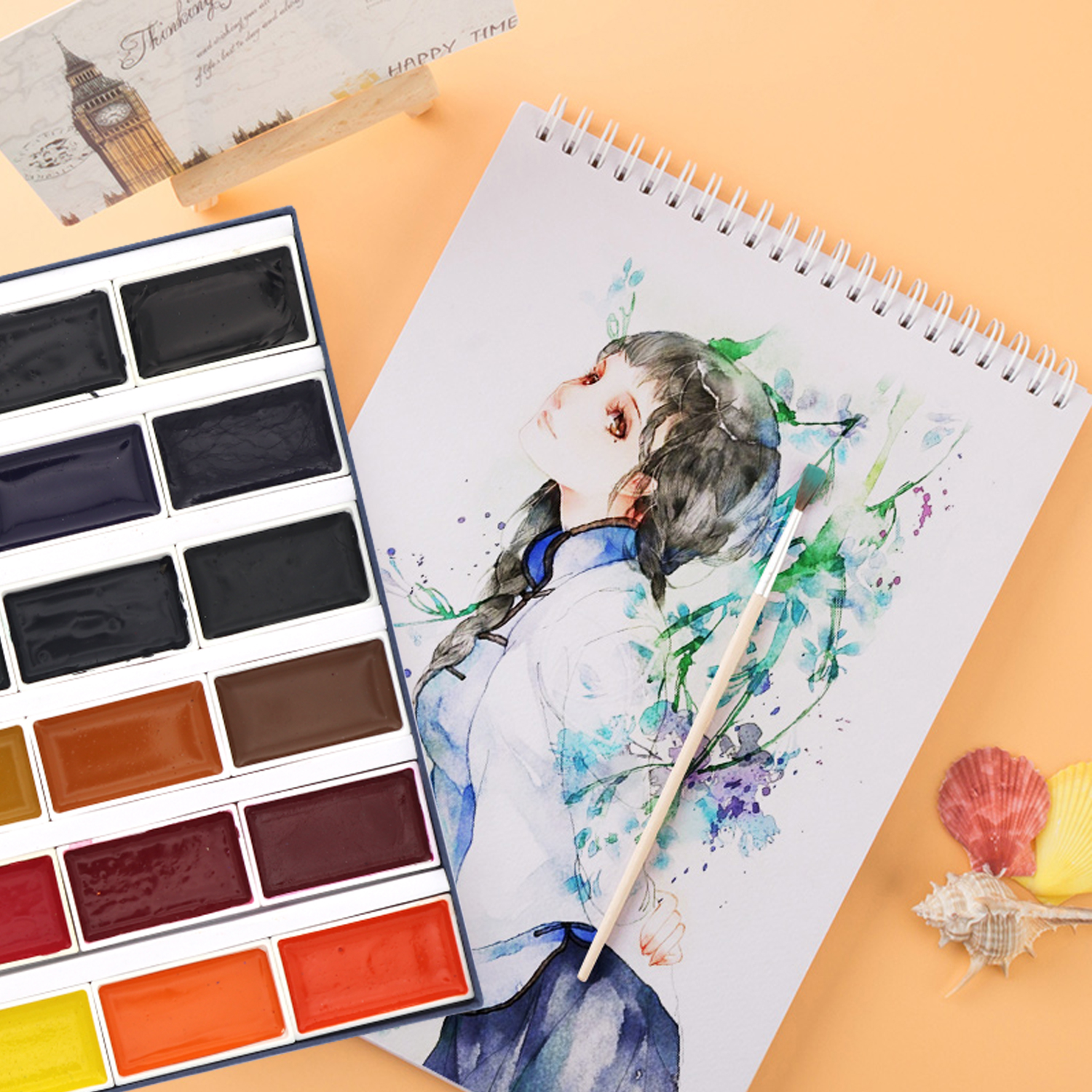SeamiArt 24Color Neone Watercolors Paint Set Gifts Box Watercolor Pigment For Artist Painting Watercolor Paper Supplies