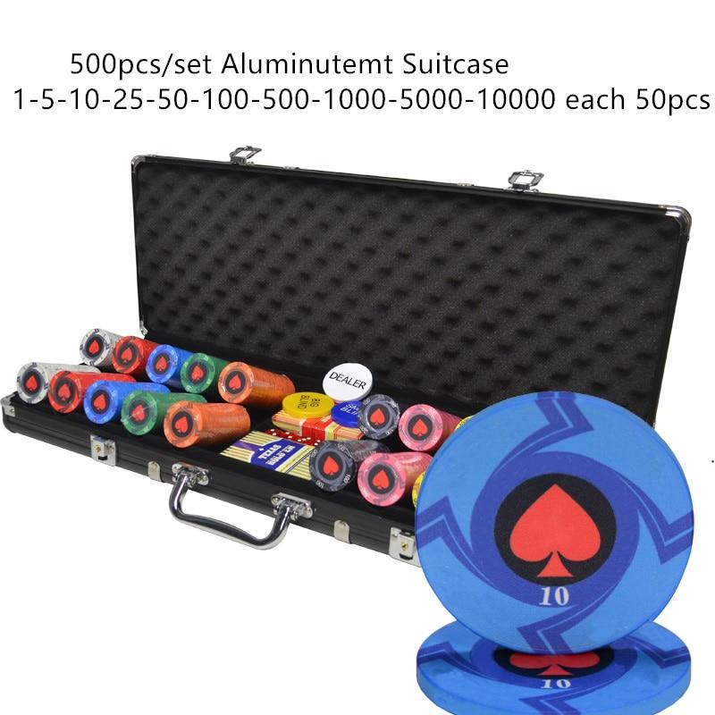 100-500PCS Bulk Order Customize Denomination Ceramic Material Texas Hold'em Poker Chips Set