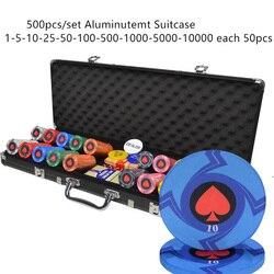 100-500PCS Großauftrag Anpassen Stückelung Keramik Material Texas Hold'em Poker Chips Set
