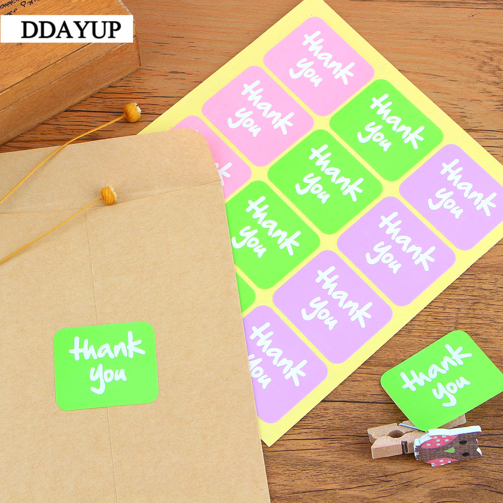 Купить с кэшбэком 120Pcs/lot New Thank You 3 Colors Handmade Cake Packaging Sealing Label Kraft Sticker Baking DIY Gift Stickers