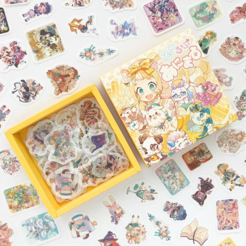 200pcs/pack Cute Magic Girl Bullet Journal Decorative Washi Stickers Scrapbooking Stick Label Diary Stationery Album Sticker