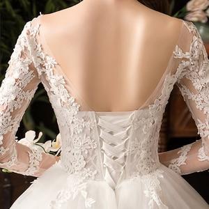 Image 5 - 35% rabat nowa jesienna suknia ślubna z długim rękawem Elelgant królewski tren koronkowy haft księżniczka Vintage Plus Szie suknie ślubne