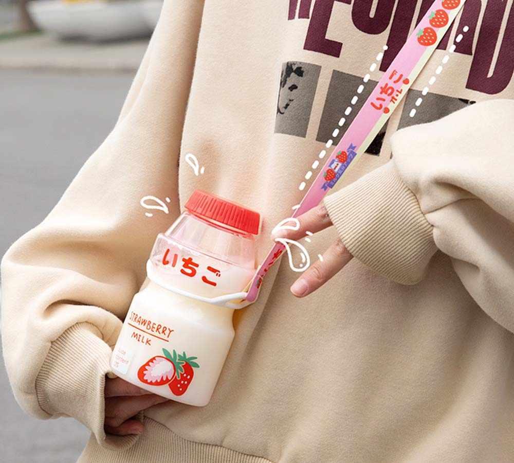 480ml 플라스틱 물병 투어 마시는 병 Yakult 모양 귀여운 Kawaii 우유 카톤 셰이커 병 어린이/소녀/성인 유리