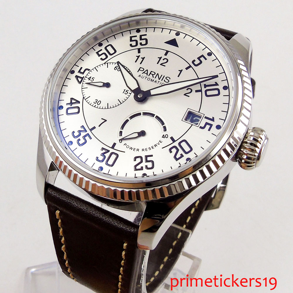 White dial 45mm power reserve date indicator <font><b>ST2530</b></font> movement automatic men's watch coin bezel image