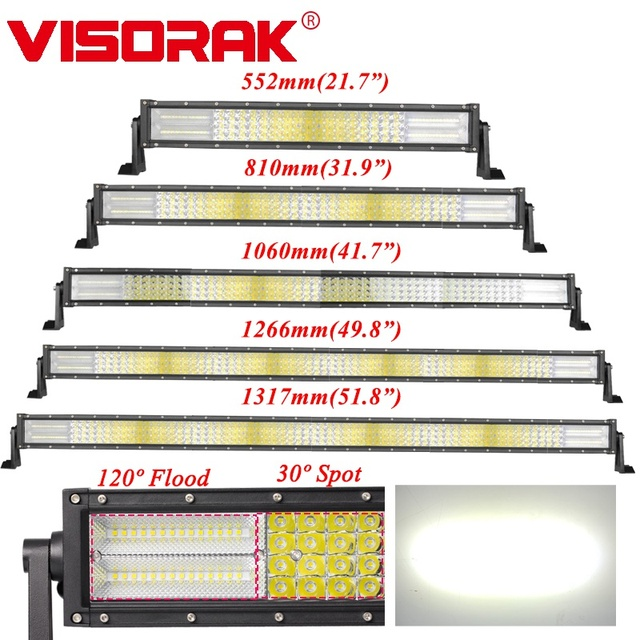VISORAK 22 32 42 50 52 inch Offroad Curved LED Work Light Bar 4x4 4WD Truck SUV ATV LED Bar For Tractor 4WD 4x4 SUV ATV Truck