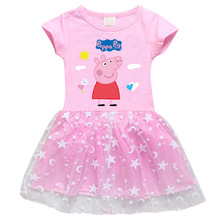 The Original Peppa Pig Girls Dress Cotton Piggy Cartoon Stars Mesh Short Sleeve Princess Dress peppa pig the wheels on the bus board book