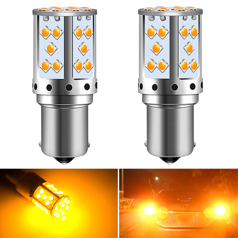 2x Canbus No Error P21W 1156 BA15S T20 7440 BAU15S LED Bulb For Kia Rio 3 4 2015 2016 2017 2018 Car Reverse Lights 3030 orange image
