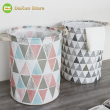 Dirty Clothes Basket Cotton Linen Folding Hamper Large Waterproof & Toy Storage Bucket Laundry