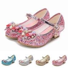 Обувь на высоком каблуке с жемчугом для девочек; блестящая обувь принцессы; детская обувь из лакированной кожи с блестками; детская Праздничная Свадебная обувь с кристаллами; блестящая танцевальная обувь
