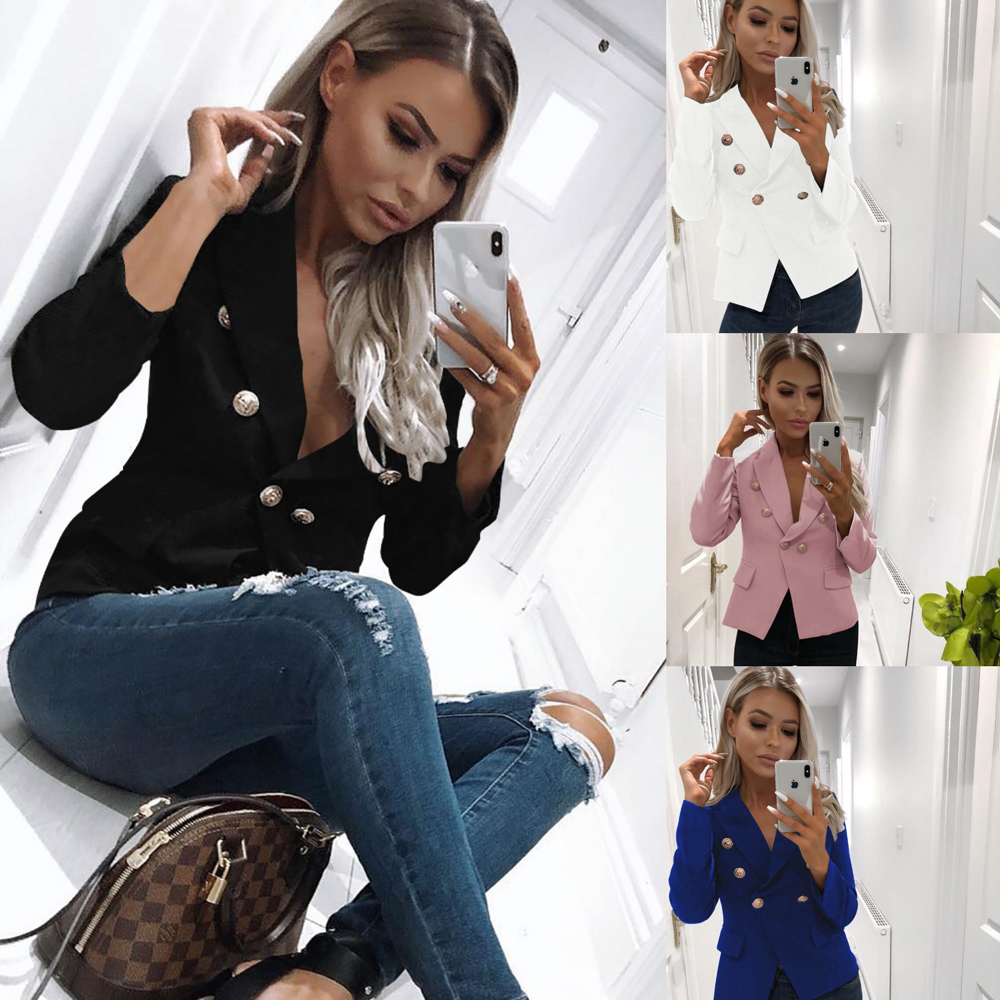 Women Autumn Long Sleeve Double Breasted Blazers Formal Office Lady Gold Lion Metallic Button Blazer Suits Female Jacket WDC3162