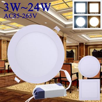 AC85 ~ 265V LED sufitowe światło Ultra cienki okrągły kwadrat oświetlenie panelowe LED LED typu Downlight 3W ~ 24W oświetlenie panelowe LED LED puchowe światło Q20 tanie i dobre opinie KEY-WIN CN (pochodzenie) 220544 HOLIDAY iron 85-265 v ROHS White 3W 6W 9W 12W 15W 18W 24W LED Panel Light Warm White Cold White