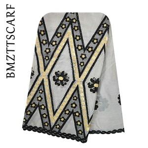 Image 4 - Écharpe 100% en coton, écharpe pour femmes africaines, grande écharpe brodée pour femmes musulmanes, châle, BM973