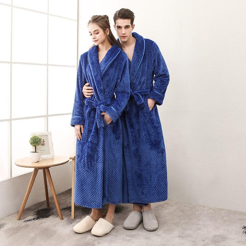 40-110KG Plus Size Men Winter Long Plaid Warm Coral Fleece Bathrobe Flannel Bath Robe Kimono Robes Dressing Gown Night Sleepwear