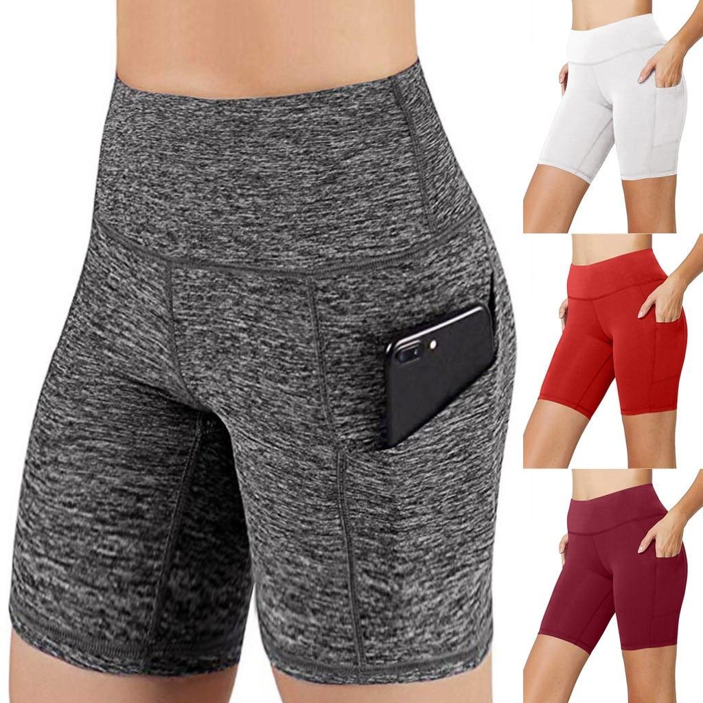 Women's Yoga Short Pants Sports Leggings Fitness Zipper Pocket Pants Gym Abdomen Control Training Running Yoga Pants D2