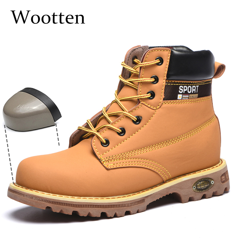 Plus Size Work Safety Boots Leather Outdoor Cap Steel Toe Stab-resistant Indestructible Men Safety Shoes #YS1706