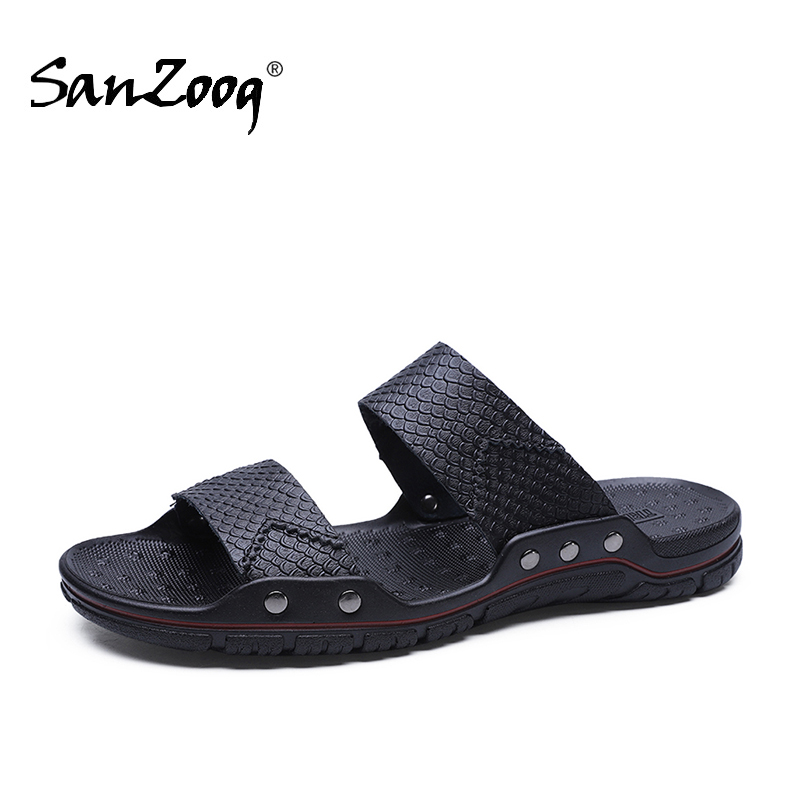 men's black leather flat slippers big size 48 summer mens casual slip-on slipper indoor house beach sleepers shoes slipers Shoe
