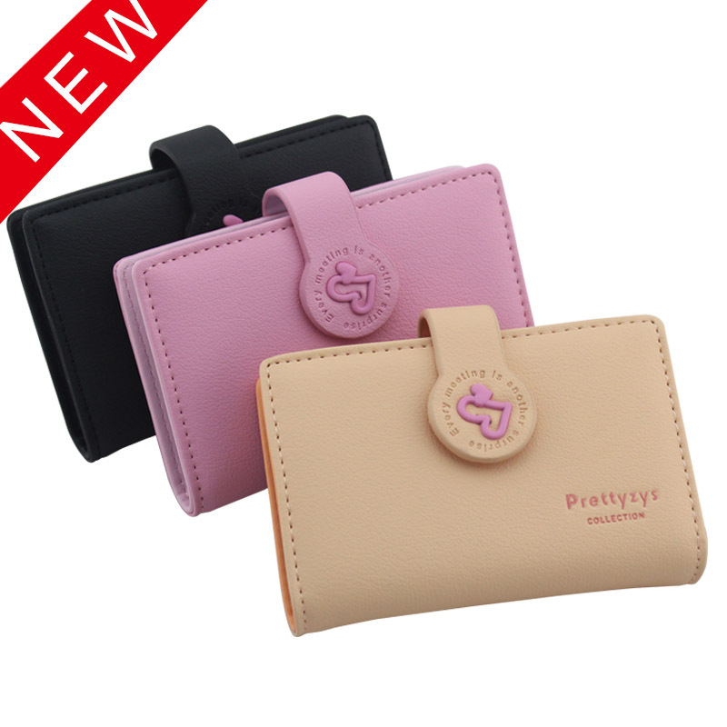 Prettyzys Wallet New Style Korean-style Fashion Candy Color Heart 20 Card Holder Women's Wallet Card Holder Business Card Holder