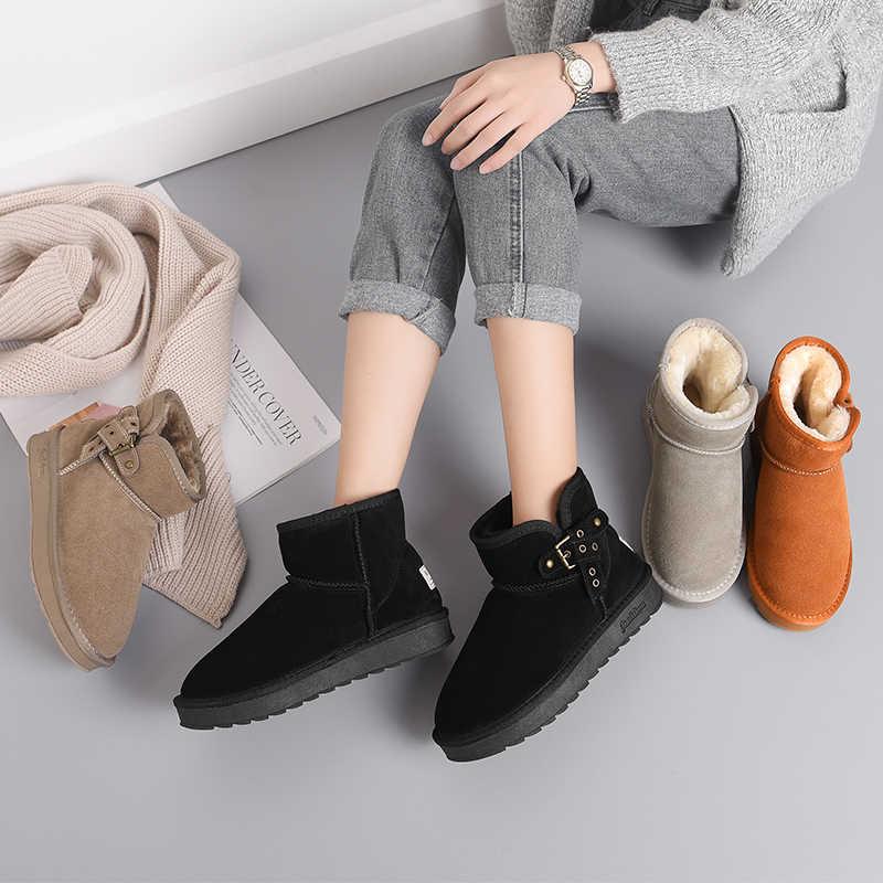 2019 ผู้หญิงหิมะรองเท้าหนังนิ่มอุ่นฤดูหนาวข้อเท้าสั้น Plush หญิงแบน Bota Neve รอบ Toe Ladies causal