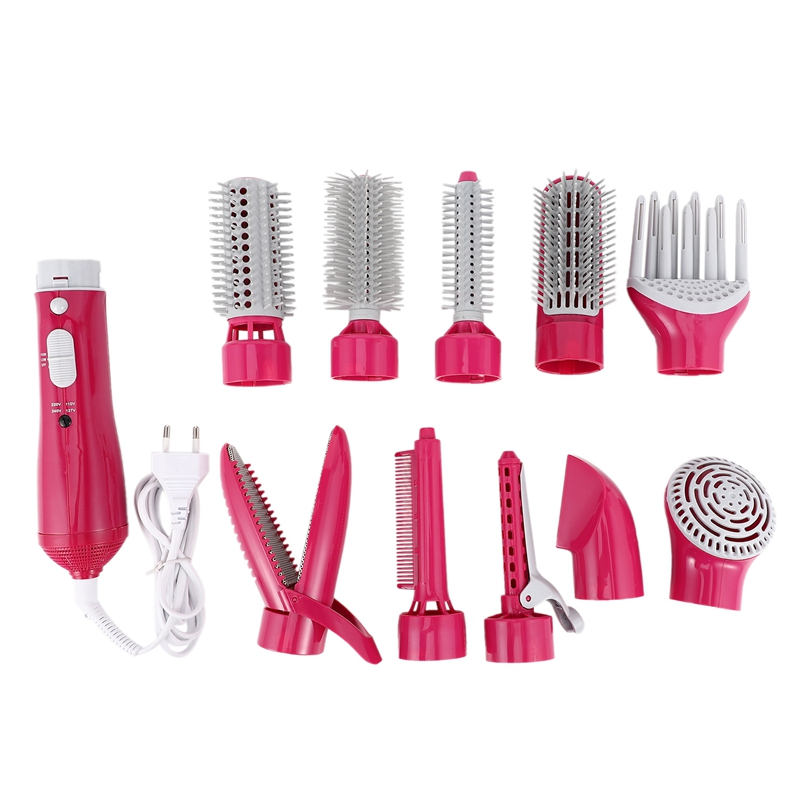 Comb Electric 10 in 1 Multi-Function Hair Curler Styling Tool Stick Dryer Set Curling Pliers-rose Red EU Plug image