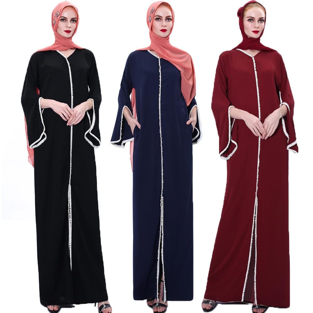 Muslim Fashion Hijab Dress Kaftan Islam Clothing Abaya Dubai Turkey Arabic Vestidos Robe Women V-neck Eid Mubarak Long Dress 2