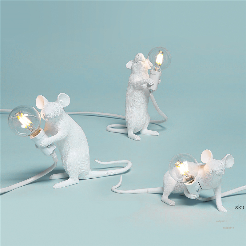 Italian Rat Table Lamp Bedroom Bedside Fixtures Mouse Lamp Wedding Deco Table Light Children's Gifts Golden Luminaria