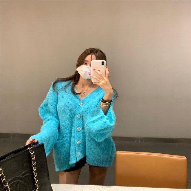 Фото женское однотонное платье свитер в корейском стиле элегантное