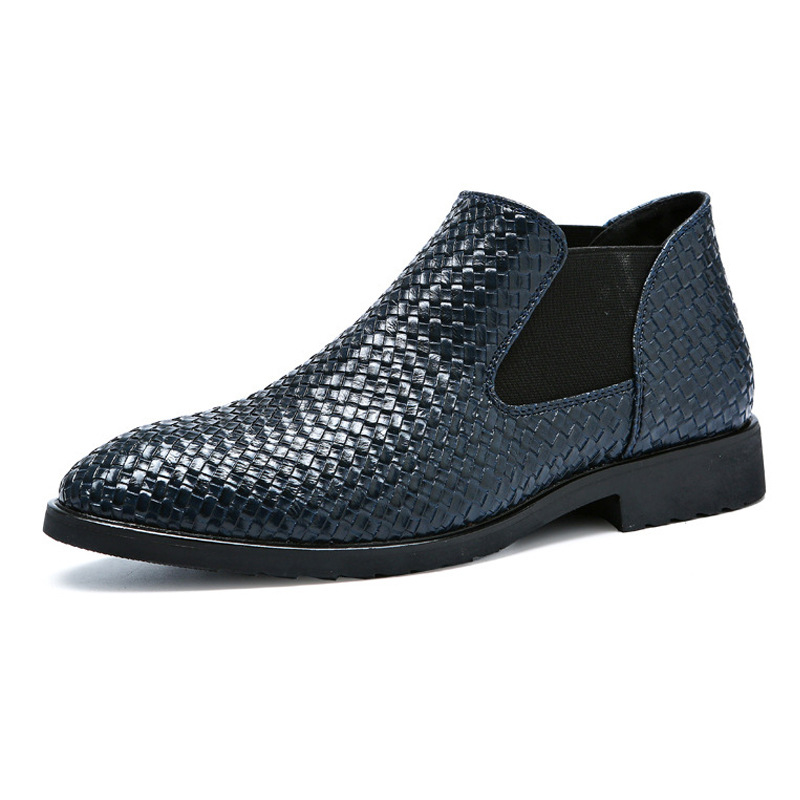GOXPACER Weave Shoes Men Chelsea Flats New Fashion Elastic Band Slip On Soft Sole Formal Flat Heel Patchwork 2019 Free Shipping