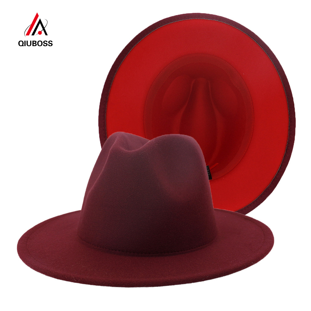 Color : A Fashion Solid Color Autumn and Winter Hat Wool Leather Classical Sombrero Cap,Navy,56-58CM