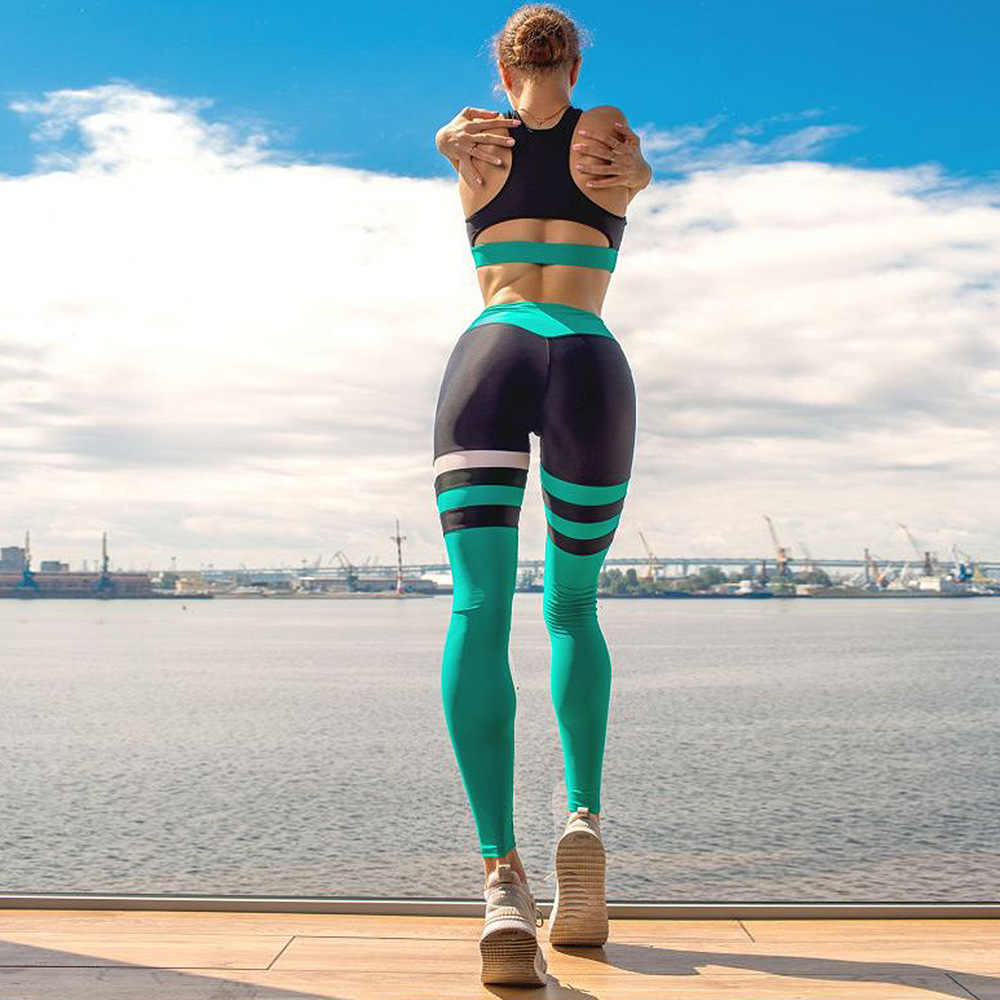 Fitness kobiety joga zestaw siłownia nosić odzież do biegania kontrast kolor zespół odzież sportowa Sexy strój sportowy dres Top legginsy, ZF255