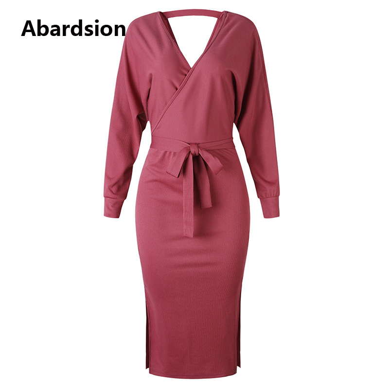 Abardsion Women Knitted Sweater Dress Wrap Belted Tunic Midi Vestidos Long Sleeve Double V Neck Split Casual Autumn Dresses 19 12