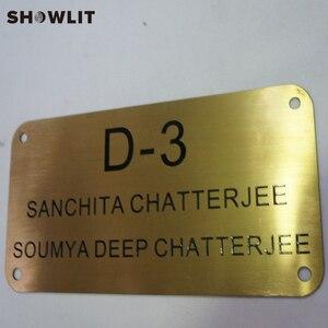 Image 3 - Placa de bronze dourada adesivos de parede decorativos/porta adesivos hotel placas da porta dormitório casa placa de endereço
