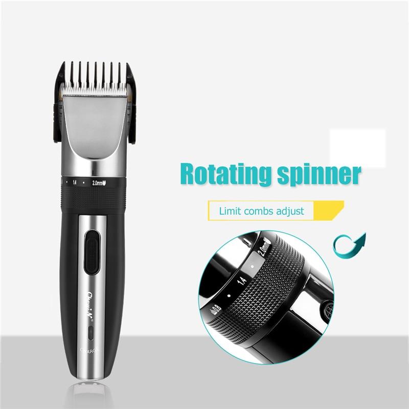 Professional Low Noise Rechargeable Haircut Machine Adjustable 0.8-2mm Electric Shave Titanium ceramic blade Hair Clipper P49 5