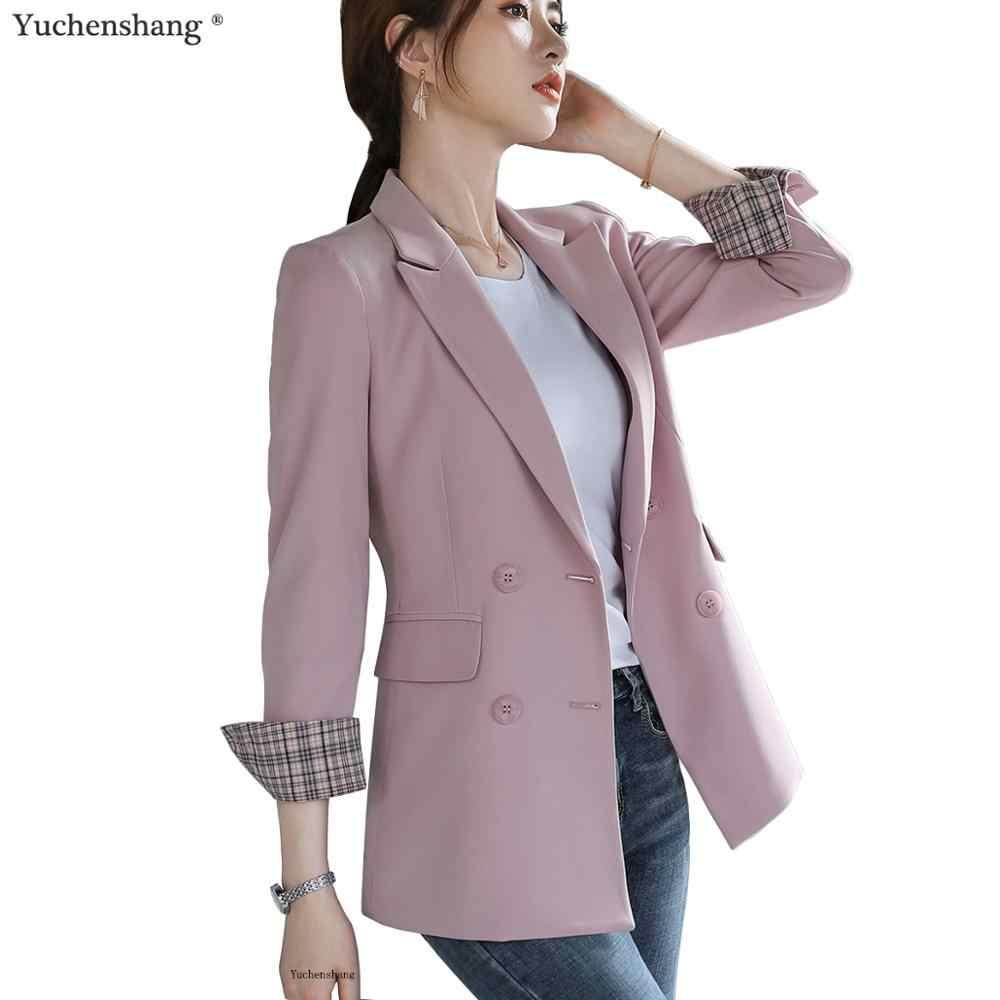 女性 Bouble ブレスト固体ブレザー女性のコートのファッションブレザー上着高品質ジャケット 5XL
