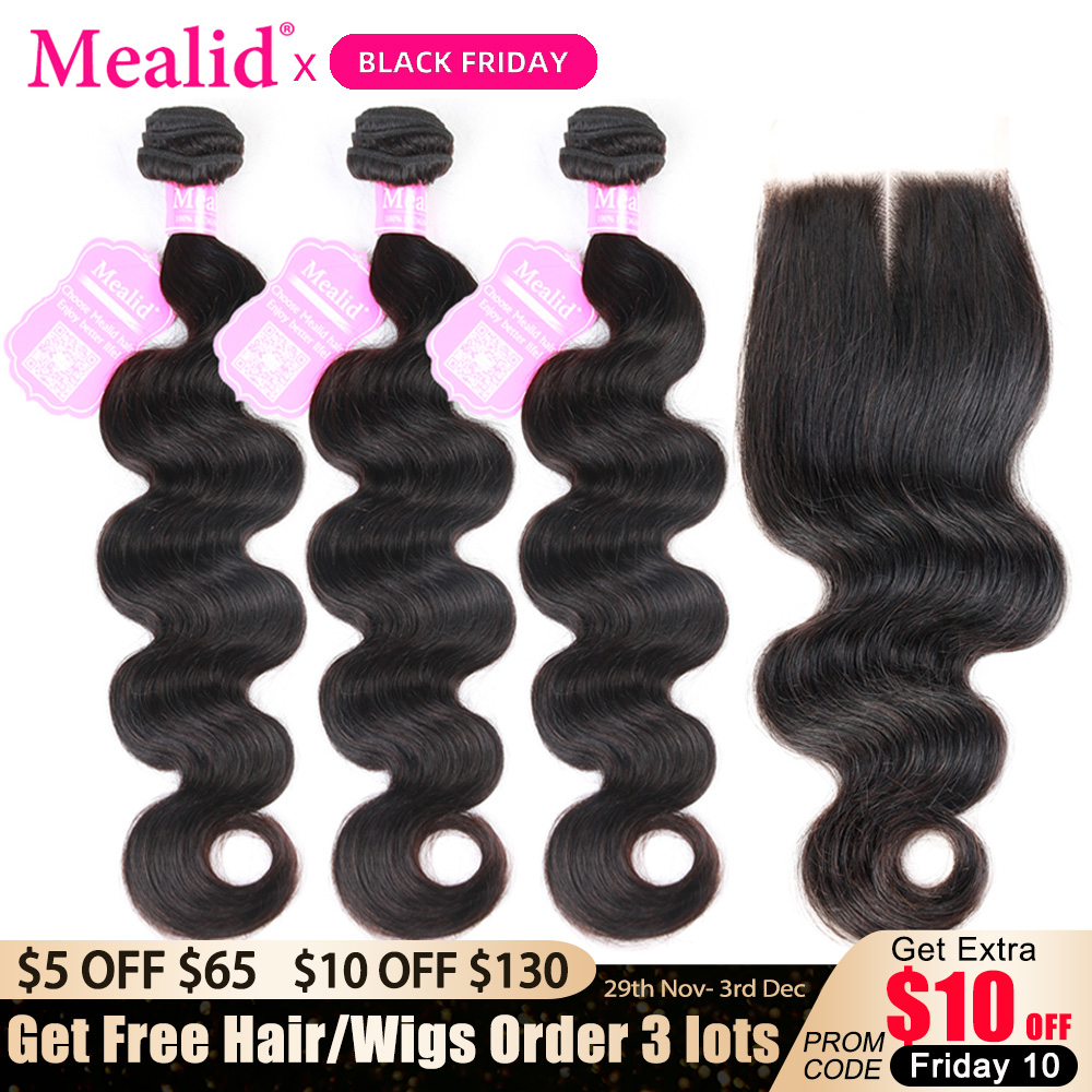 Mealid Body Wave Bundles With Closure Peruvian Non Remy Hair Extensions 3 4 Human Hair Weave Bundles With Closure For Woman