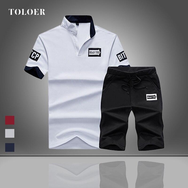 Trainingsanzug Set Männer 2021 Sommer Casual Kurzarm Shirt + Shorts Set Herren 2 Stück Set Brief Druck Männlichen Polo anzug Sportswear