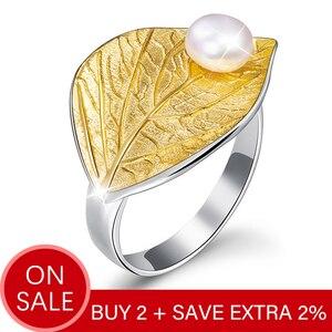 Image 2 - Lotus Plezier Echte 925 Sterling Zilver Natuurlijke Parel 18K Bladgoud Ring Fijne Sieraden Creatieve Open Ringen Voor Vrouwen kerstcadeau