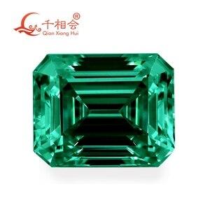 Image 1 - اللون الأخضر مستطيلة الشكل em إرالد قطع شكل سيك المواد مويسانيتي حجر فضفاض