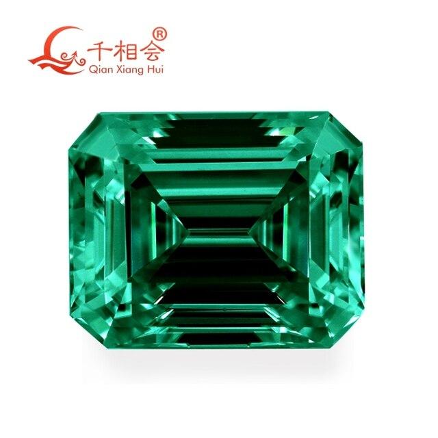 green color retangle shape em erald cut shape Sic material  Moissanite loose stone